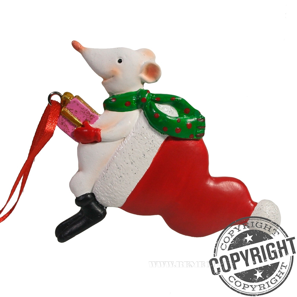 Подвеска Крыса с подарком (белый) L11 W2 H11,5 см оптом