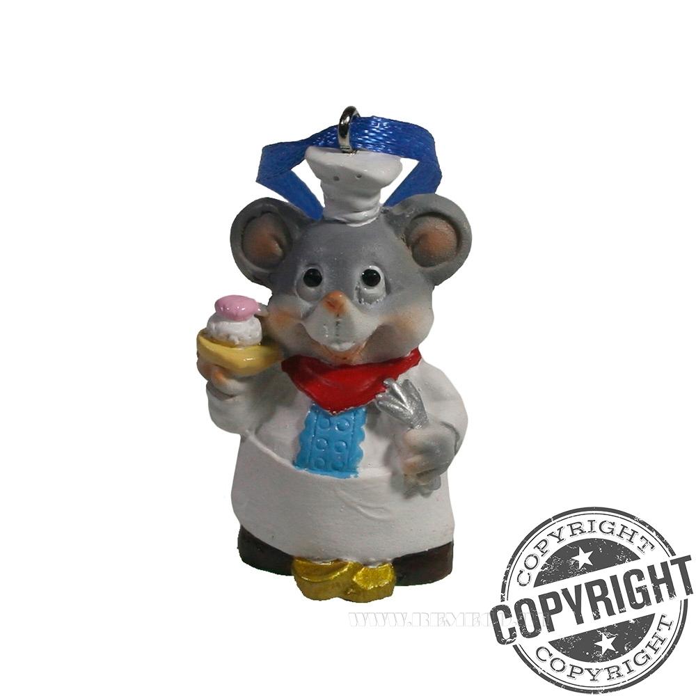 Подвеска Мышонок-повар (серый) L2 W1,5 H5 см оптом