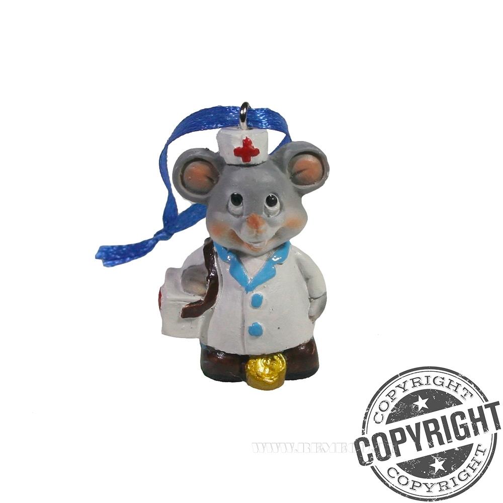 Подвеска Мышонок-врач (серый) L2 W1,5 H5 см оптом