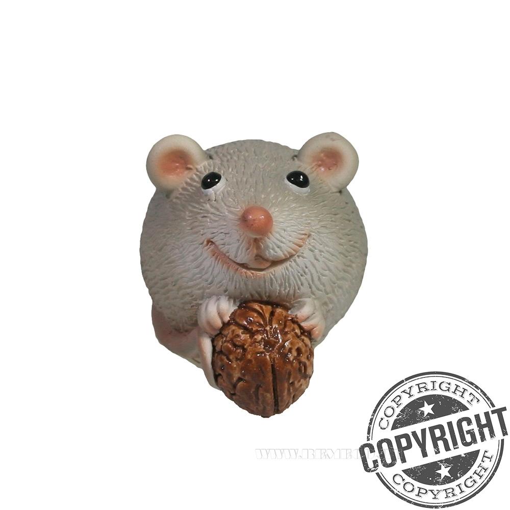 Фигурка декоративная Мышка с орешком (серый) L5,5 W3,5 H3,5 см оптом
