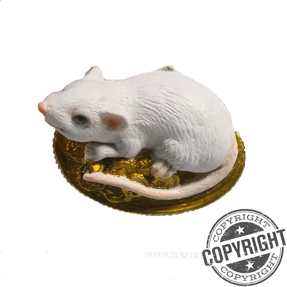Магнит Денежная Крыса (белый) L5,5 W1,5 H3,5 см оптом