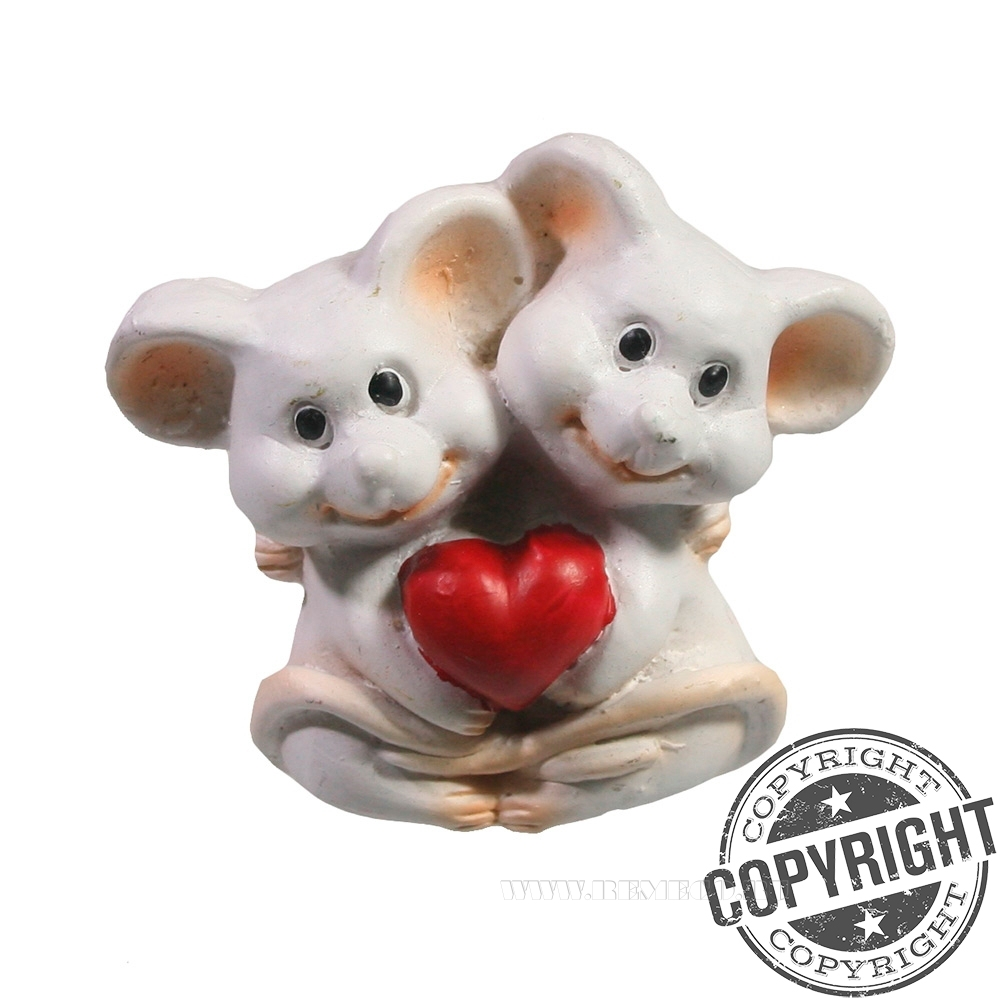 Магнит Влюбленные мышки (белый) L5 W2 H5,5 см оптом