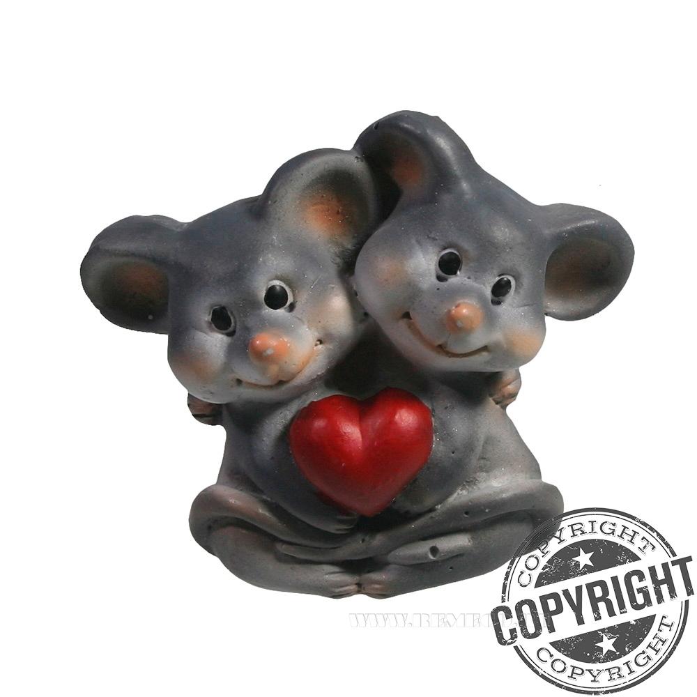 Магнит Влюбленные мышки (серый)  L5 W2 H5,5 см оптом