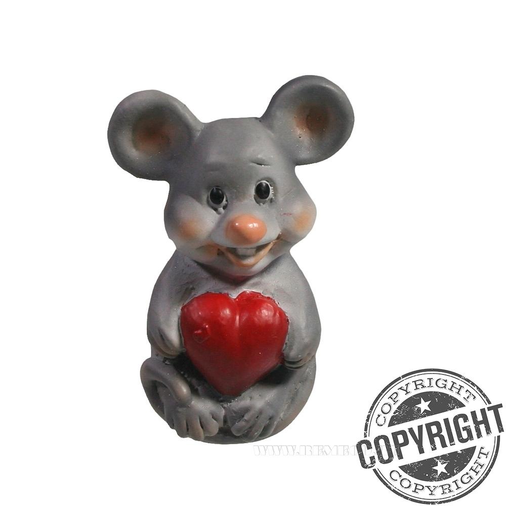 Магнит Мышонок с сердечком (серый) L3,5 W2 H5 см оптом