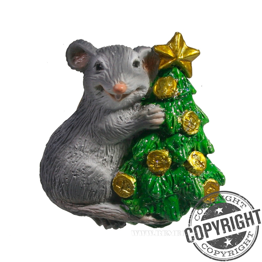 Магнит Крыса у елки (серый) L5 W1,5 H5 см оптом
