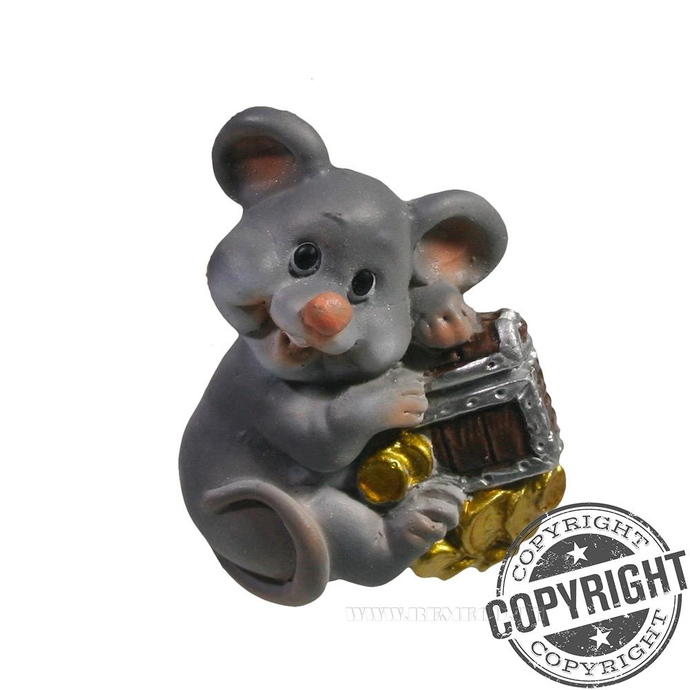 Магнит Мышь с сундучком L4 W1,5 H5 см оптом