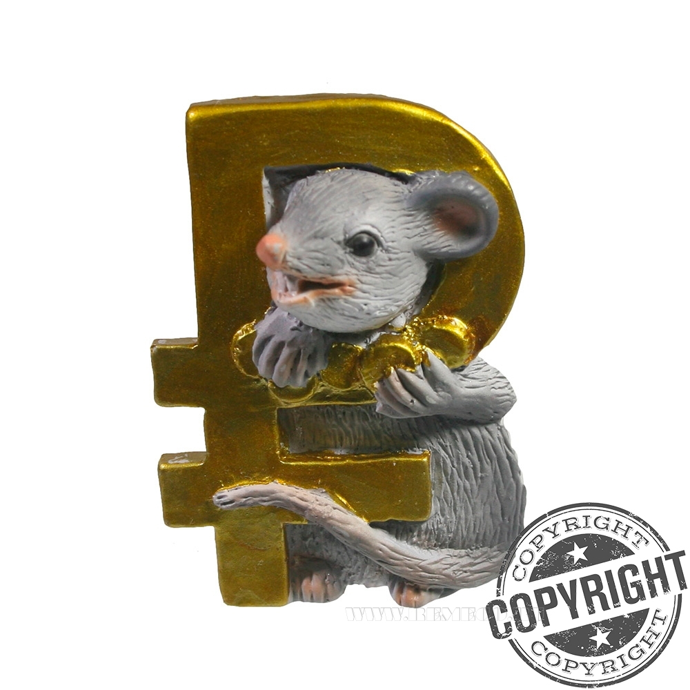 Магнит Крыса с символом рубля L4 W1,5 H5 см оптом