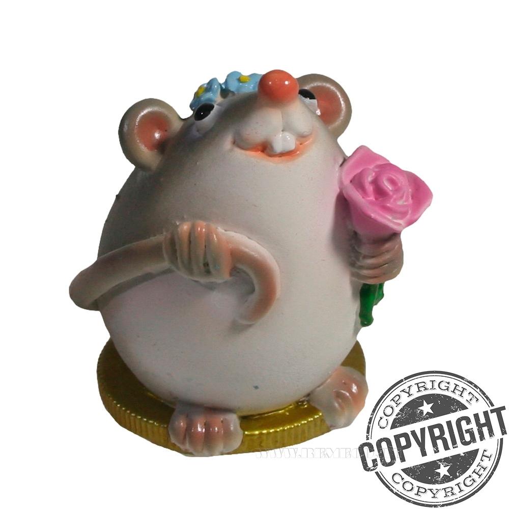 Фигурка декоративная Мышка Эмми (серый) L5 W4 H5,5 см оптом