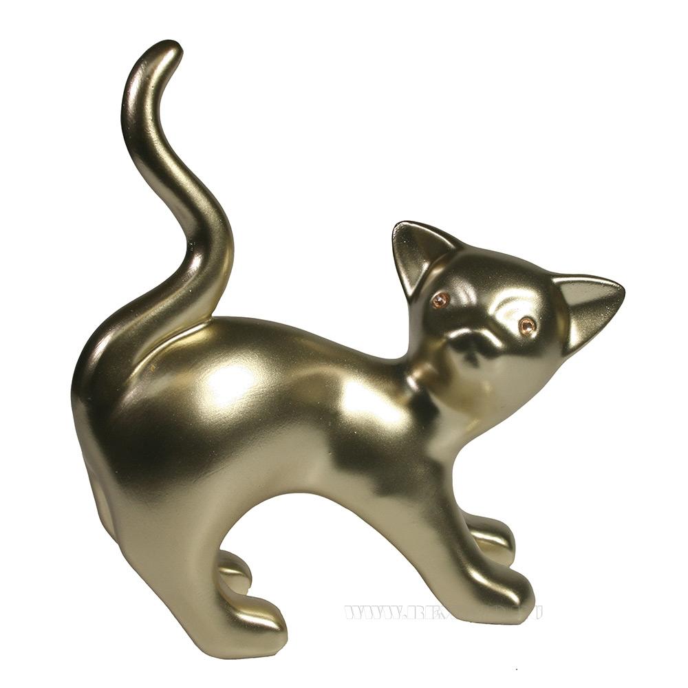 Фигура декоративная Котенок игривый (золото) L18W7H18,5 оптом