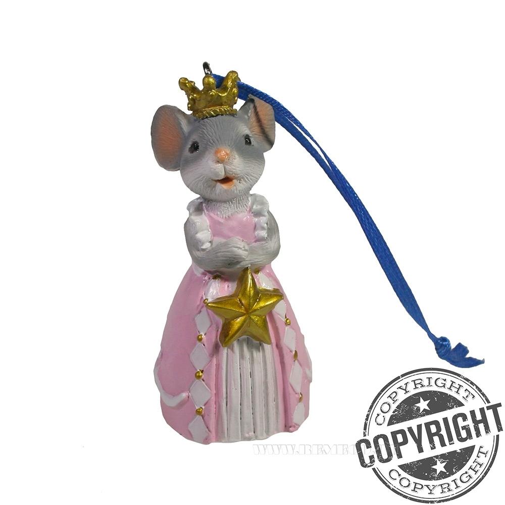 Подвеска Мышка Принцесса (серая) L4 W5 H9 см оптом