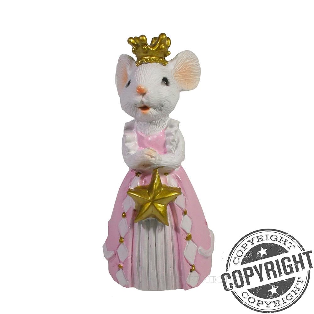 Фигура декоративная Мышка Принцесса (белая) L4 W5 H9 см оптом