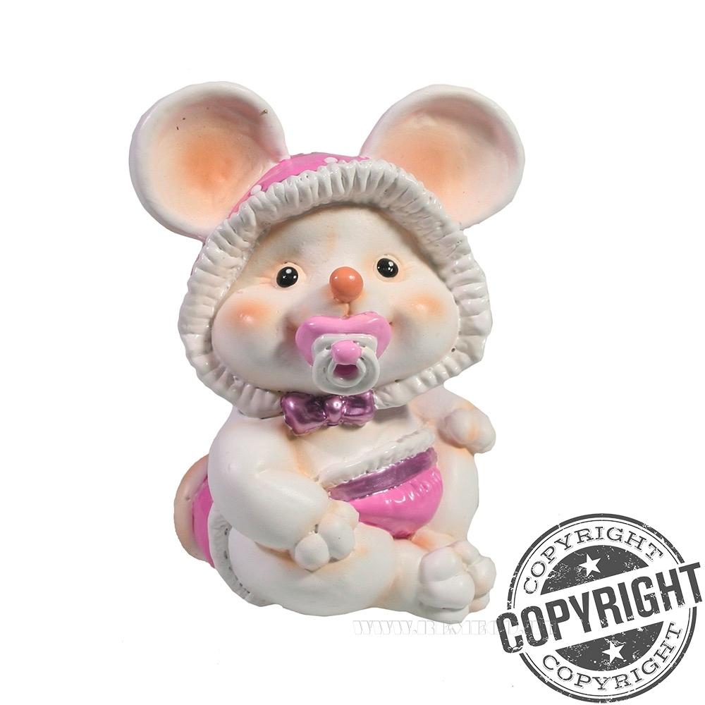 Фигурка декоративная Мышка-малышка с пустышкой (белый) L6,5 W8 H9 см оптом