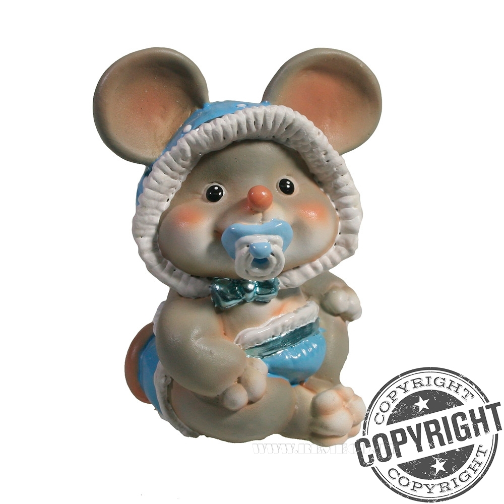 Фигурка декоративная Мышонок-малыш с пустышкой (серый) L6,5 W8 H9 см оптом