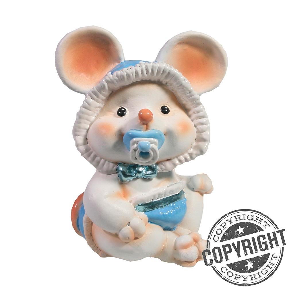 Фигурка декоративная Мышонок-малыш с пустышкой (белый) L6,5 W8 H9 см оптом