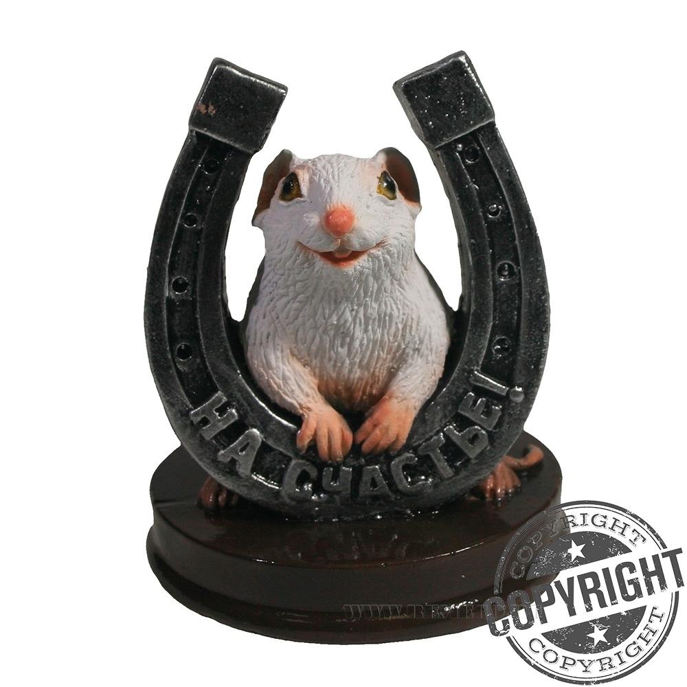 Фигурка декоративная Крыса с серебряной подковой На счастье (белый) L7 W7 H9,5 см оптом