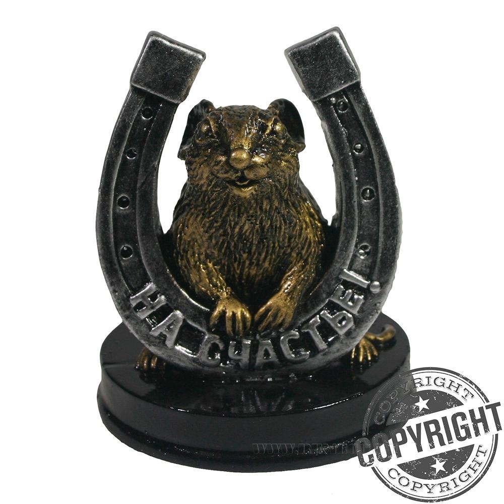 Фигурка декоративная Крыса с серебряной подковой На счастье (бронза) L7 W7 H9,5 см оптом