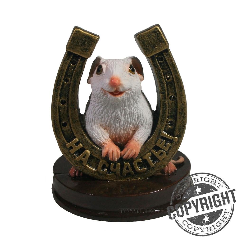 Фигурка декоративная Крыса с бронзовой подковой На счастье (белый) L7 W7 H9,5 см оптом
