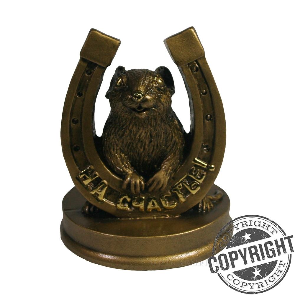 Фигурка декоративная Крыса с подковой На счастье (золото) L7 W7 H9,5 см оптом