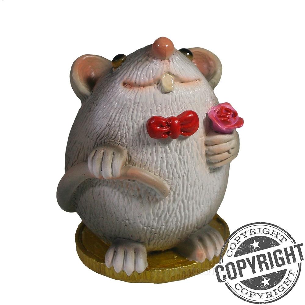 Фигурка декоративная Крыса Грей (серый) L6,5 W6,5 H9 см оптом