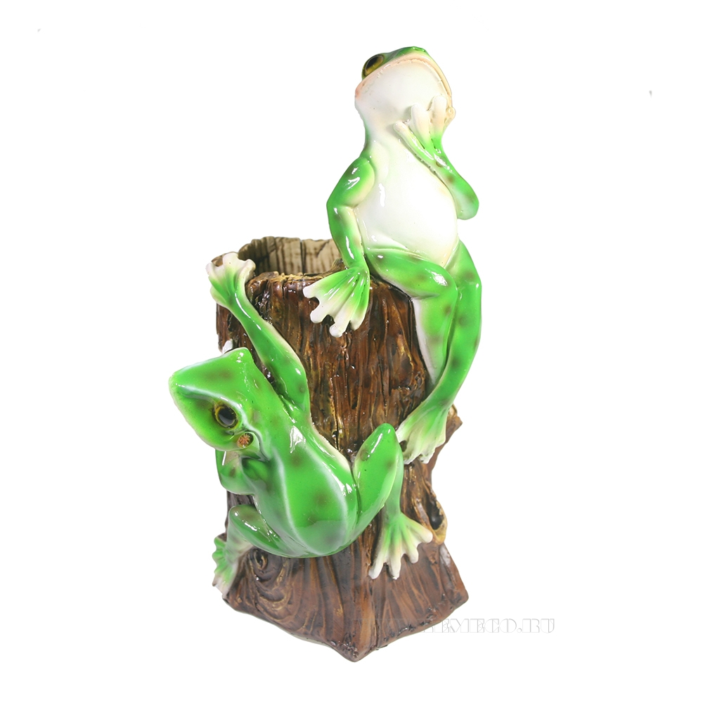 Изделие декоративное Лягушки на бревне (акрил), L11W13,5H20см оптом