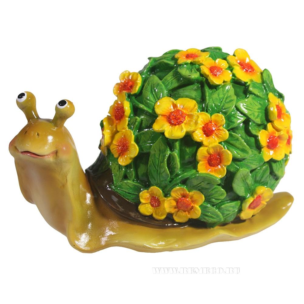 Изделие декоративное Улитка резная (акрил, цветы желтые) L14W10H12 оптом