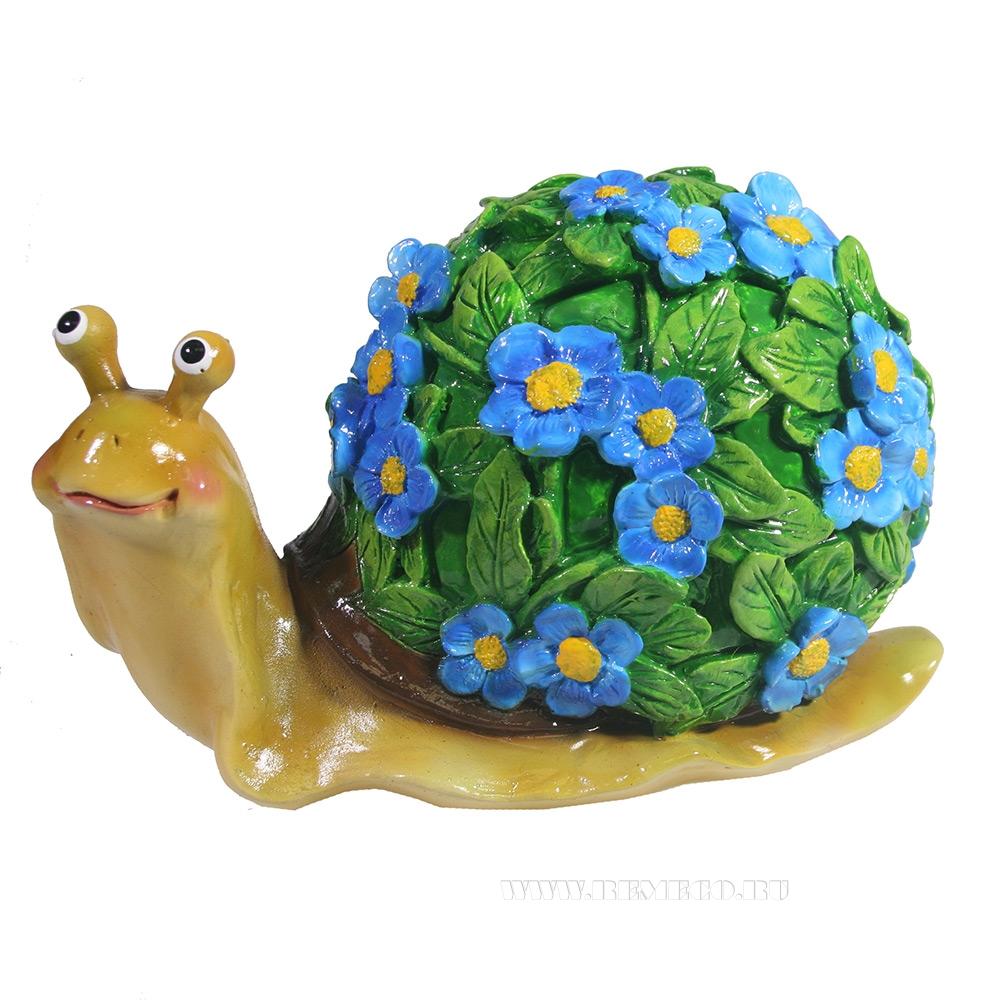 Изделие декоративное Улитка резная (акрил, цветы голубые) L14W10H12 оптом
