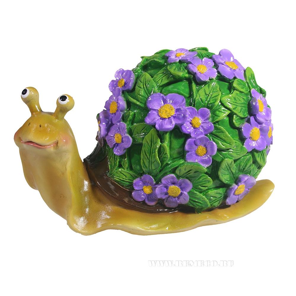 Изделие декоративное Улитка резная (акрил, цветы сиреневые) L14W10H12 оптом
