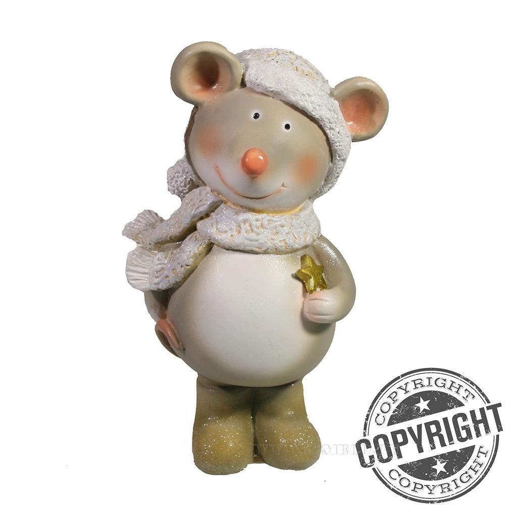 Фигурка декоративная Мышка Алиса в белой шапочке (серый) L12 W9 H16 см оптом