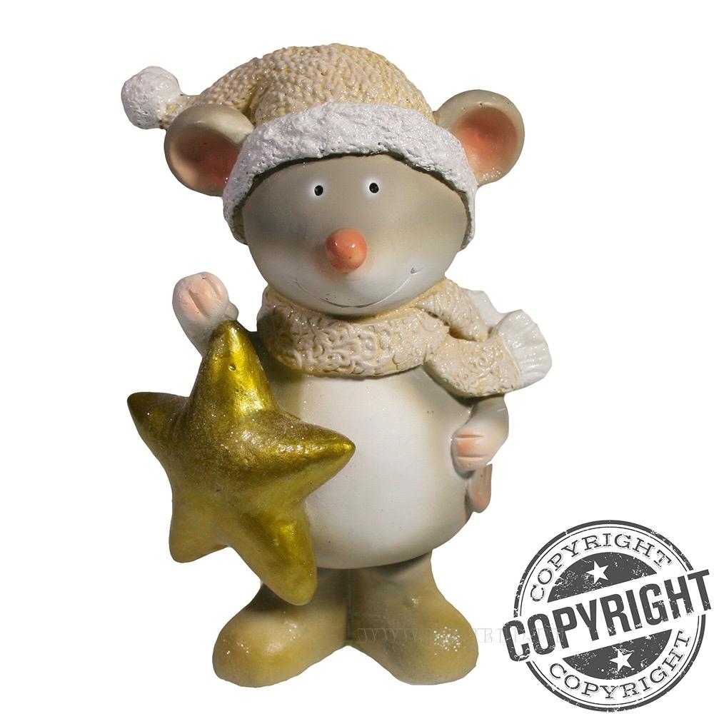 Фигурка декоративная Мышонок Альберт (бежевая шапочка) L12 W9 H16 см оптом
