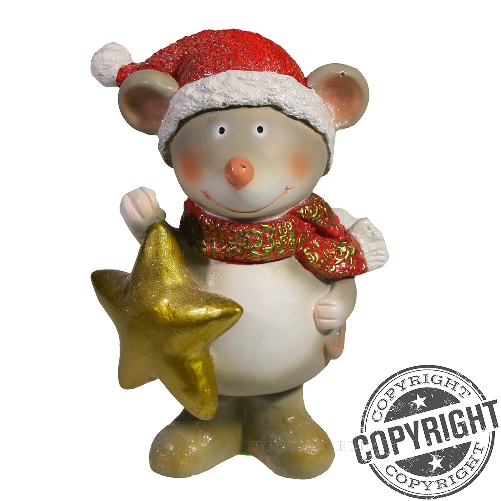Фигурка декоративная Мышонок Альберт (красная шапочка) L12 W9 H16 см оптом