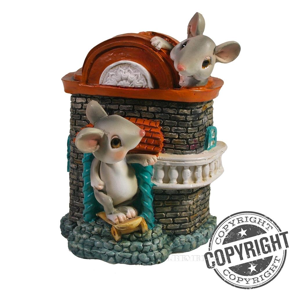 Копилка Мышки в кирпичном домике L9,5 W11 H13,5 см оптом