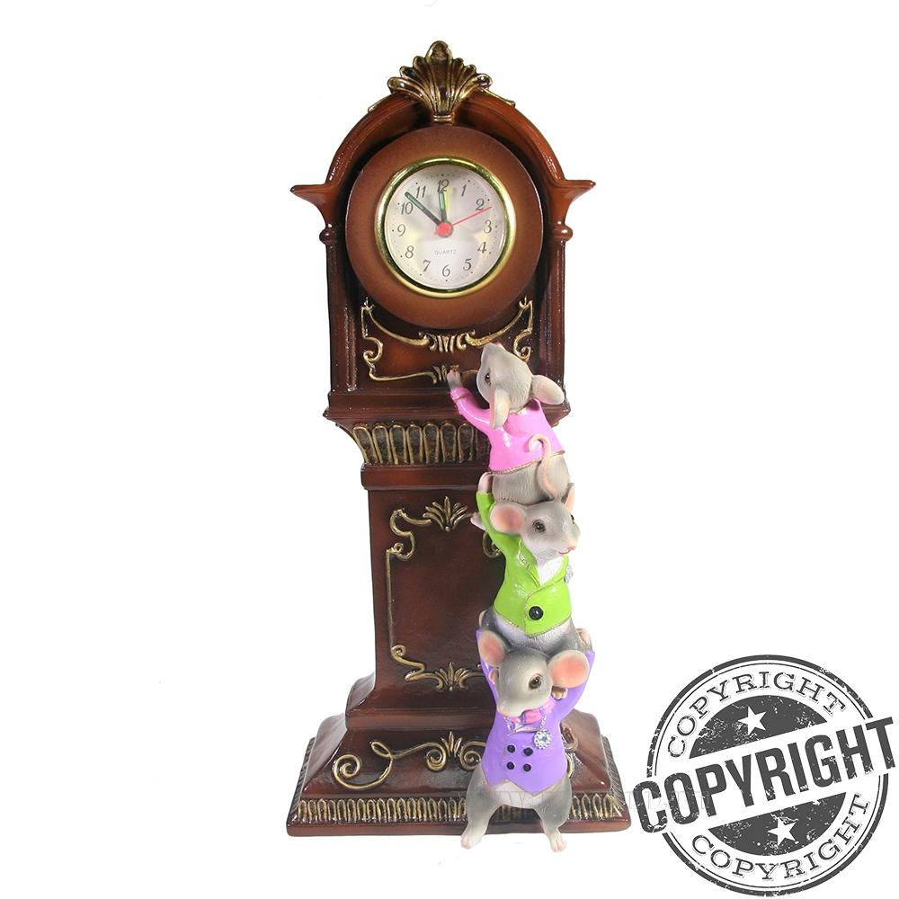 Композиция время Часы с серыми мышками L9W16H34 см оптом