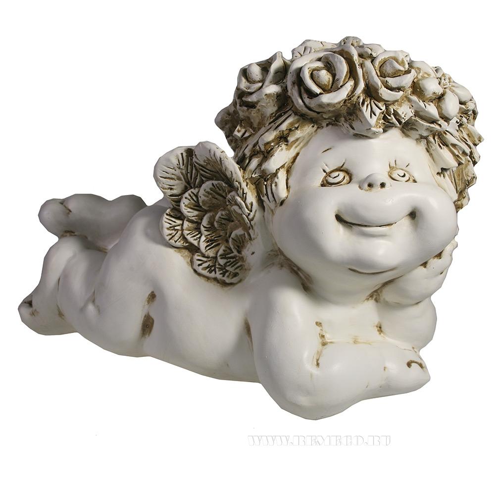 Фигура декоративная Ангел лежит (цвет антик)L31W19.5H21см оптом