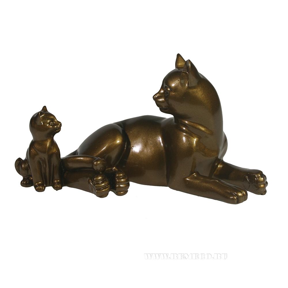 фигура декоративная Кошка с котенком (темное золото глянец) L17W9H9 см оптом