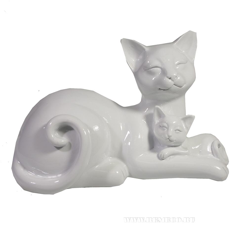 фигура декоративная Кошка с котенком (белый глянец) L18W10H12 см оптом