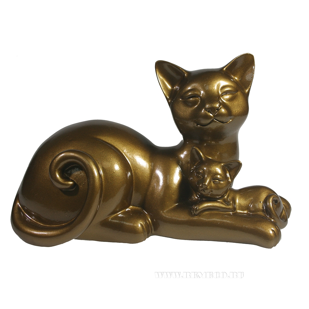 фигура декоративная Кошка с котенком (темное золото глянец) L18W10H12 см оптом