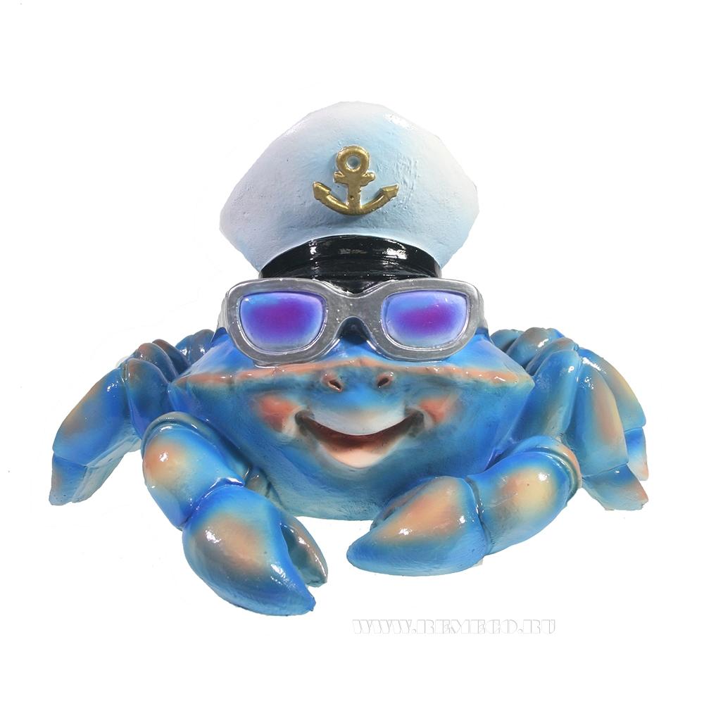 Фигура декоративная Краб в очках (синий) L20W26H18 оптом