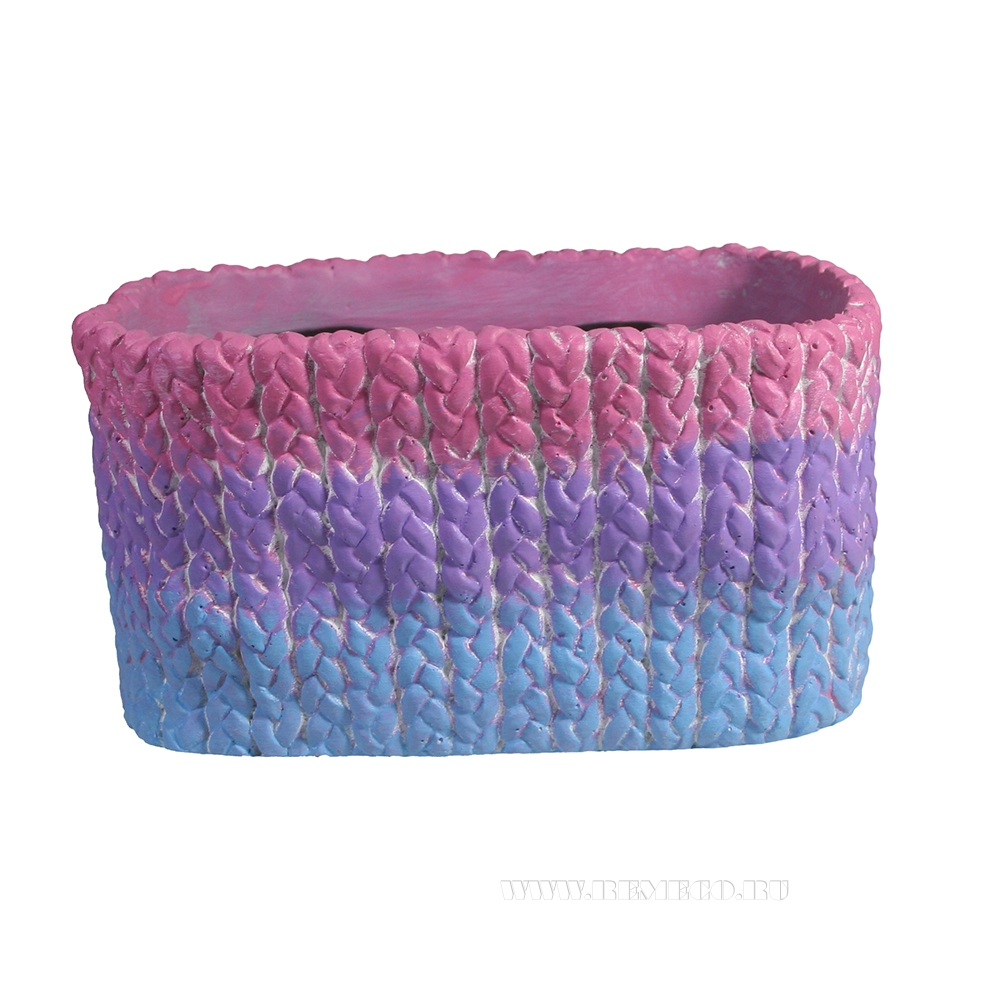 Кашпо декоративное Плетенное (градиент) L19,5W14H10,5 см оптом