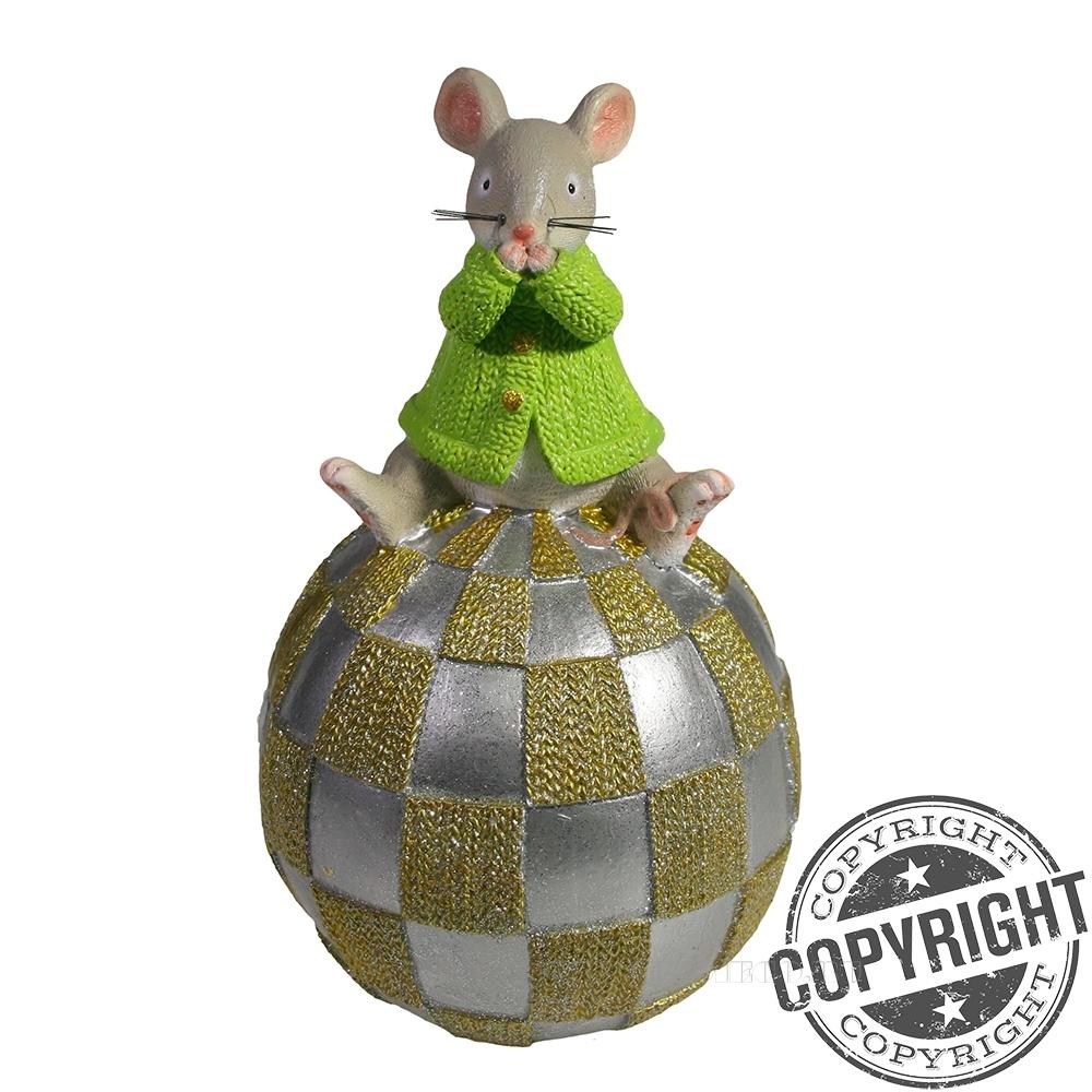 Копилка Мышка на шаре (серый) L11 W11 H18 см оптом