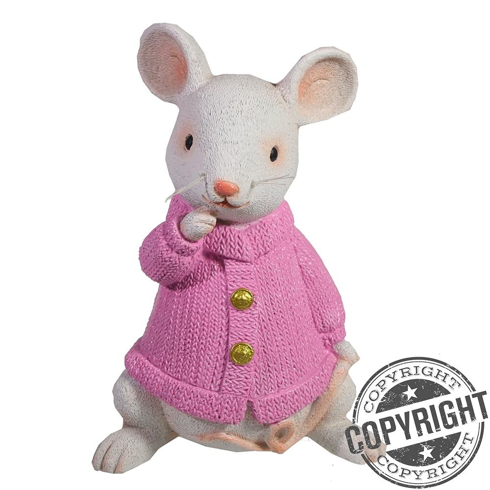 Копилка Любопытная мышка (белый) L9 W12 H17 см оптом
