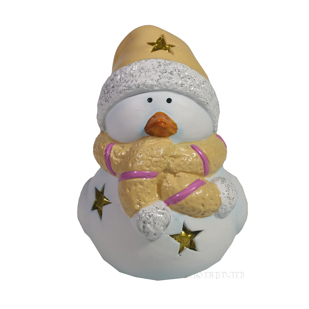 Фигура декоративная со светодиодом Птика в шарфике и шапке (бежевый) L9W7H10 оптом