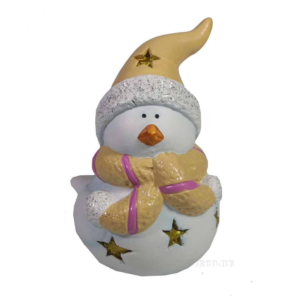 Фигура декоративная со светодиодом Птика в шарфике и шапке (бежевый) L9W7H11 оптом