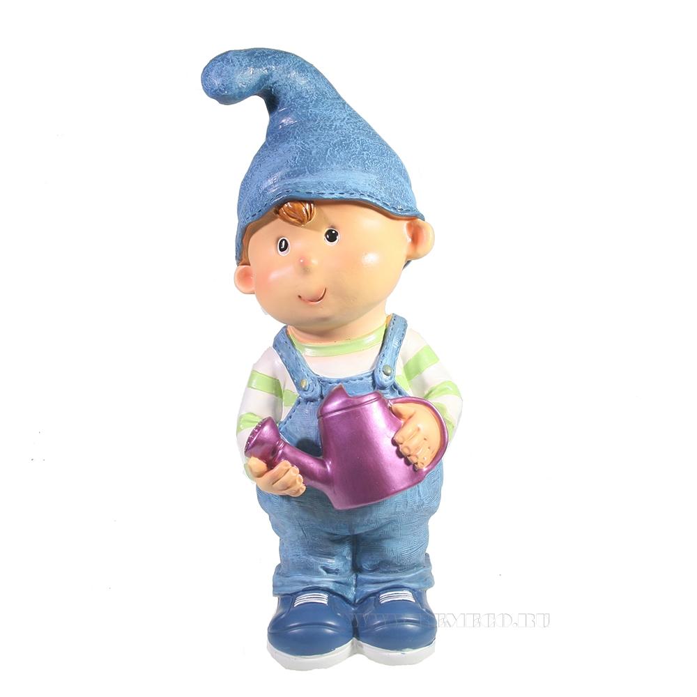 Фигура декоративная Мальчик-гном с лейкой L13W13H33 оптом