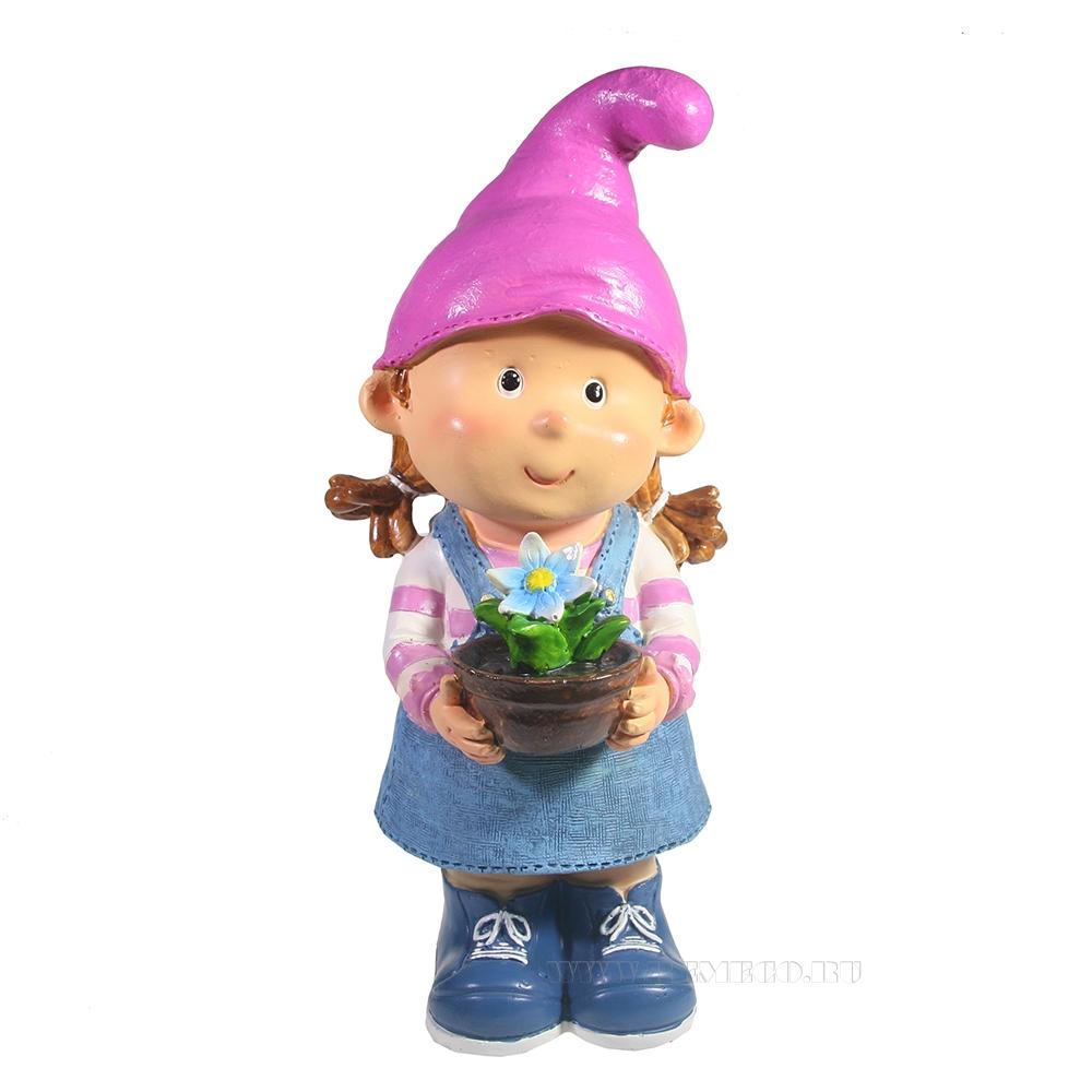 Фигура декоративная Девочка-гном с цветочком L15W13H32 оптом