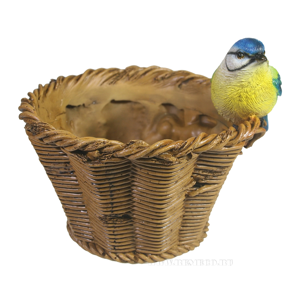 Кашпо декоротивное Синичка на плетеной корзинке L17W17H17 оптом