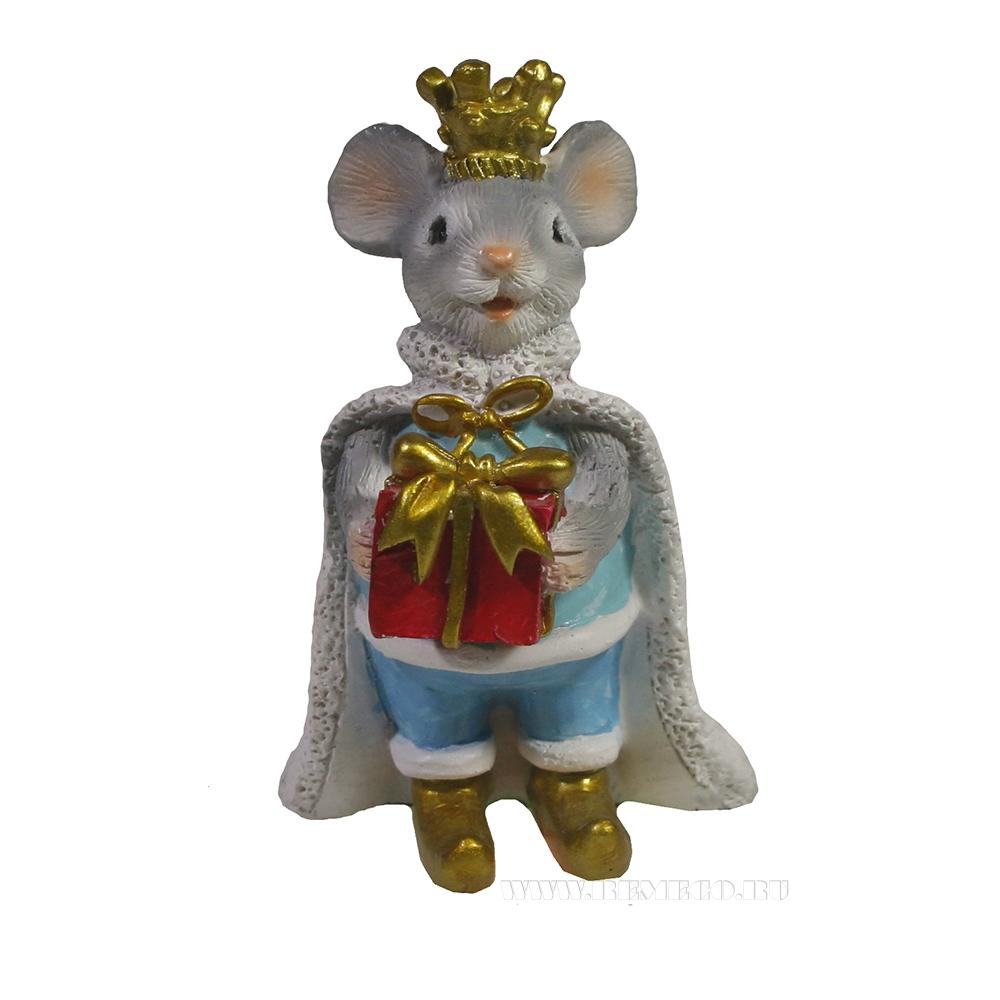 Фигурка декоративная Мышонок Карл (серый) L5,5 W2,5 H9 см оптом