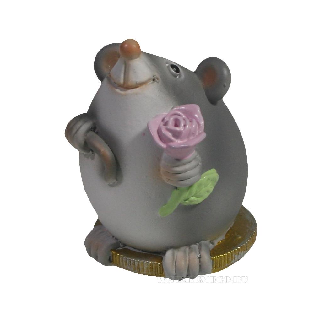 Фигура декоративная Мышонок с розочкой (серый) L5W4H5,5 оптом