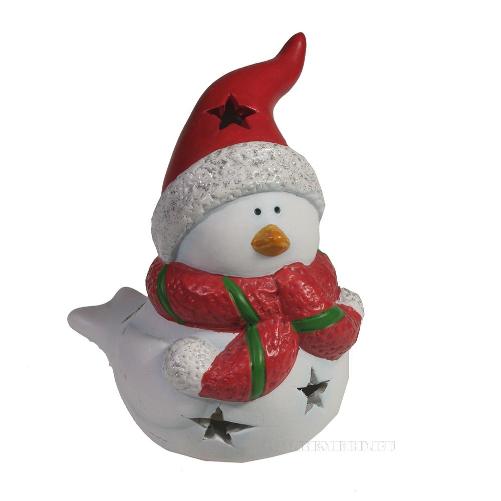 Фигура декоративная со светодиодом Птика в шарфике и шапке (красный) L9W7H11 оптом