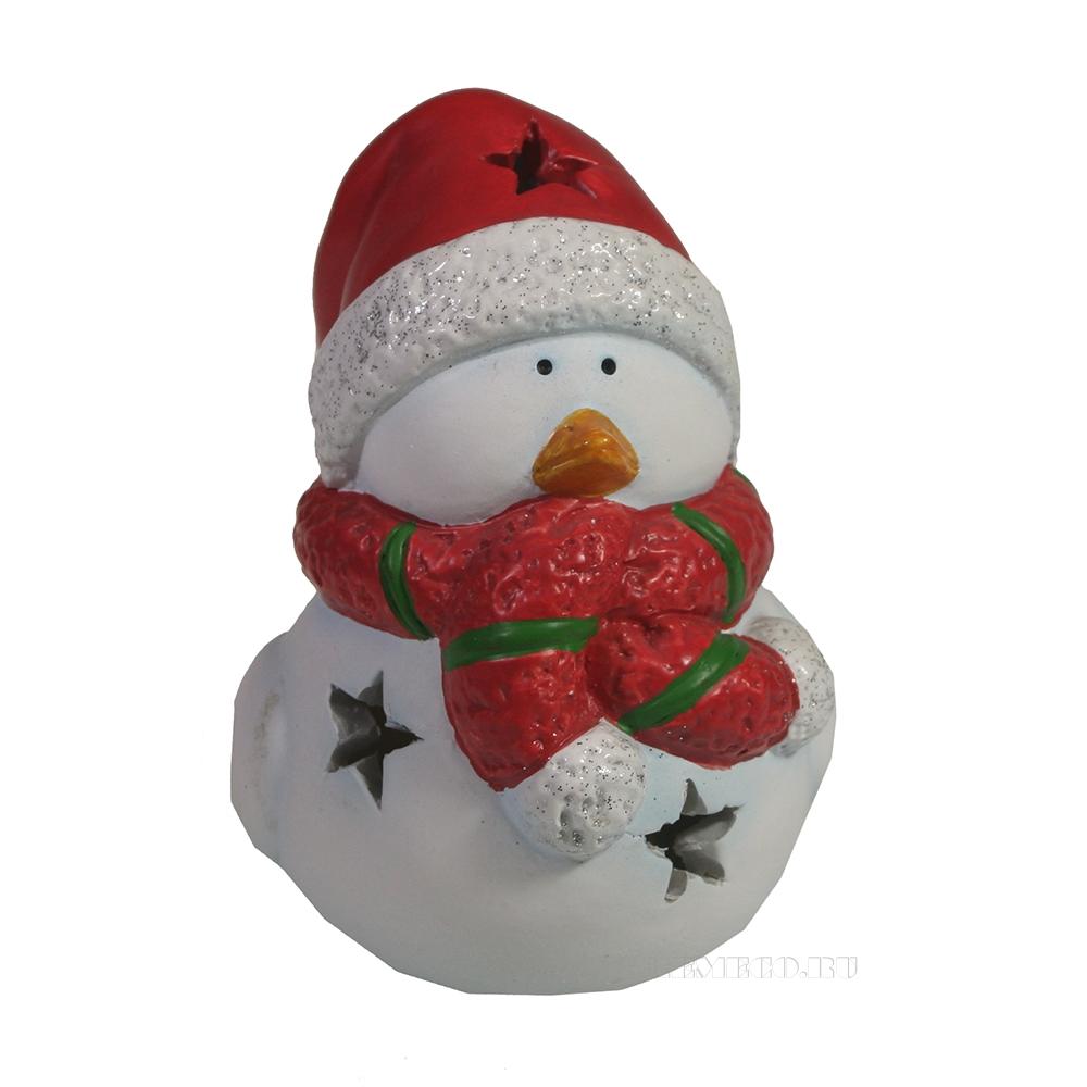Фигура декоративная со светодиодом Птика в шарфике и шапке (красный) L9W7H10 оптом