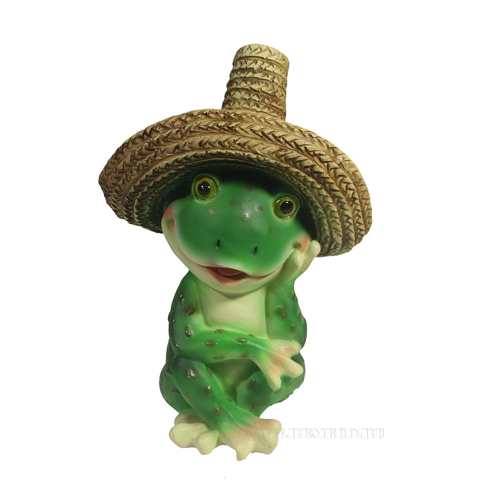 Фигура декоративная Лягушка в соломенной шляпе L11W12H16,5 оптом